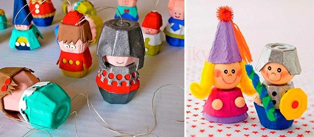Игрушки из яичных лотков
