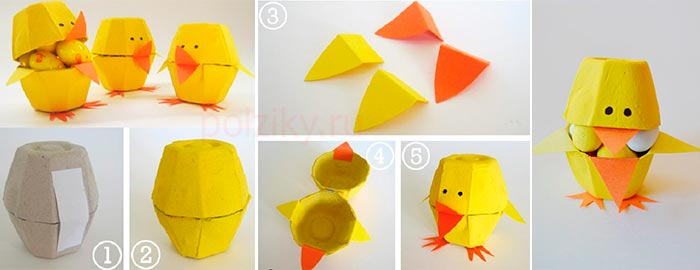 Птенец -шкатулка из яичного лотка