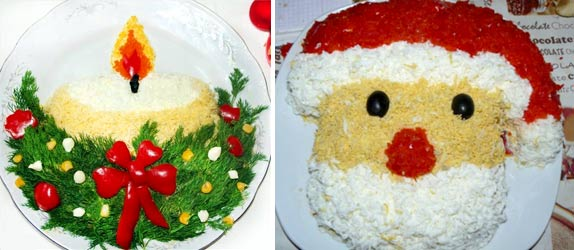 Украсить салат яйцом к новому году