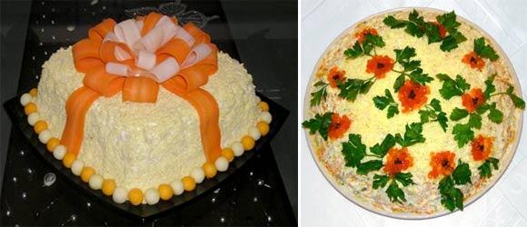 Салат яйцом в виде подарка