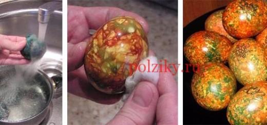 Покраска яиц под мрамор с зеленкой