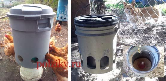 Как сделать бункерную кормушку для куриц