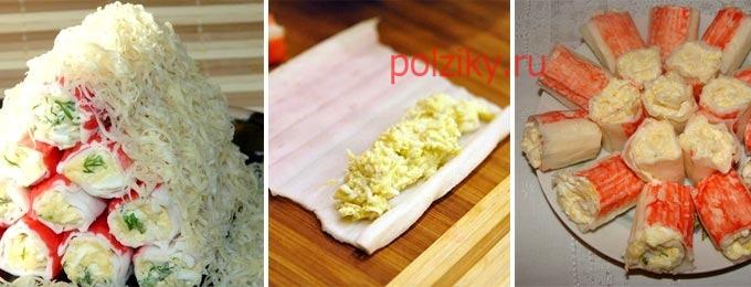 Закуска из крабовых палочек и яиц