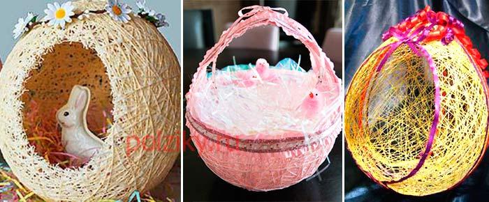Гнездо из ниток и клея к пасхе