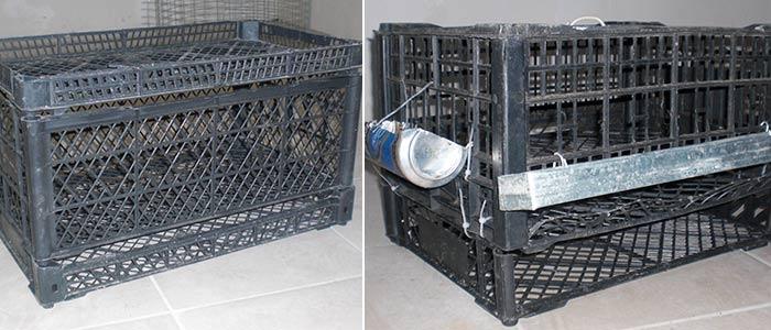 Клетка для перепелов из пластикового ящика