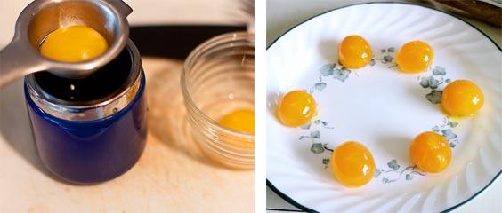 Отделелить желток от белка через ситечко