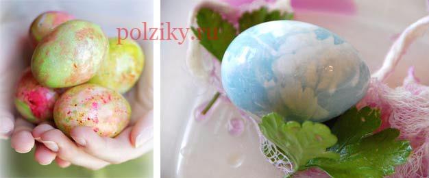 Мраморные яйца цветные