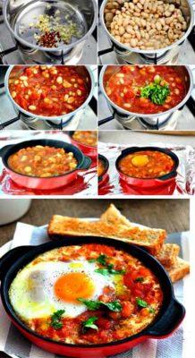 Запеченные в духовке яйца с острой фасолью