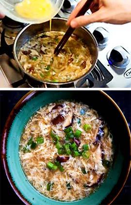 Китайский суп с яйцом