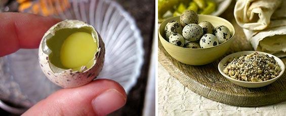 Сырое перепелиное яйцо кормящей маме