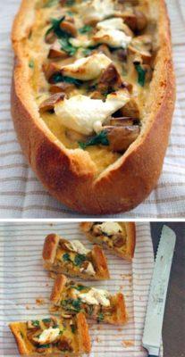 Яичные лодочки с жареным чесноком и козьим сыром
