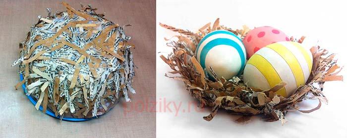 Бумажное гнездо для декора на пасху